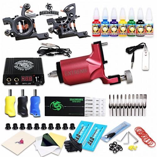 Dragonhawk Тату комплект с двумя индукционными и одной роторной тату машинками полная комплектация