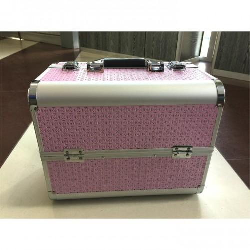 Кейс розовый с нишами для инструмента косметолога, для оборудования, для расходных материалов