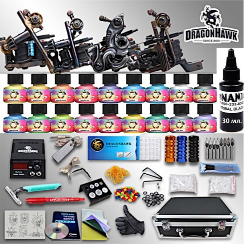 Dragonhawk Тату набор с мощными Тату машинками Luos полная комплектация